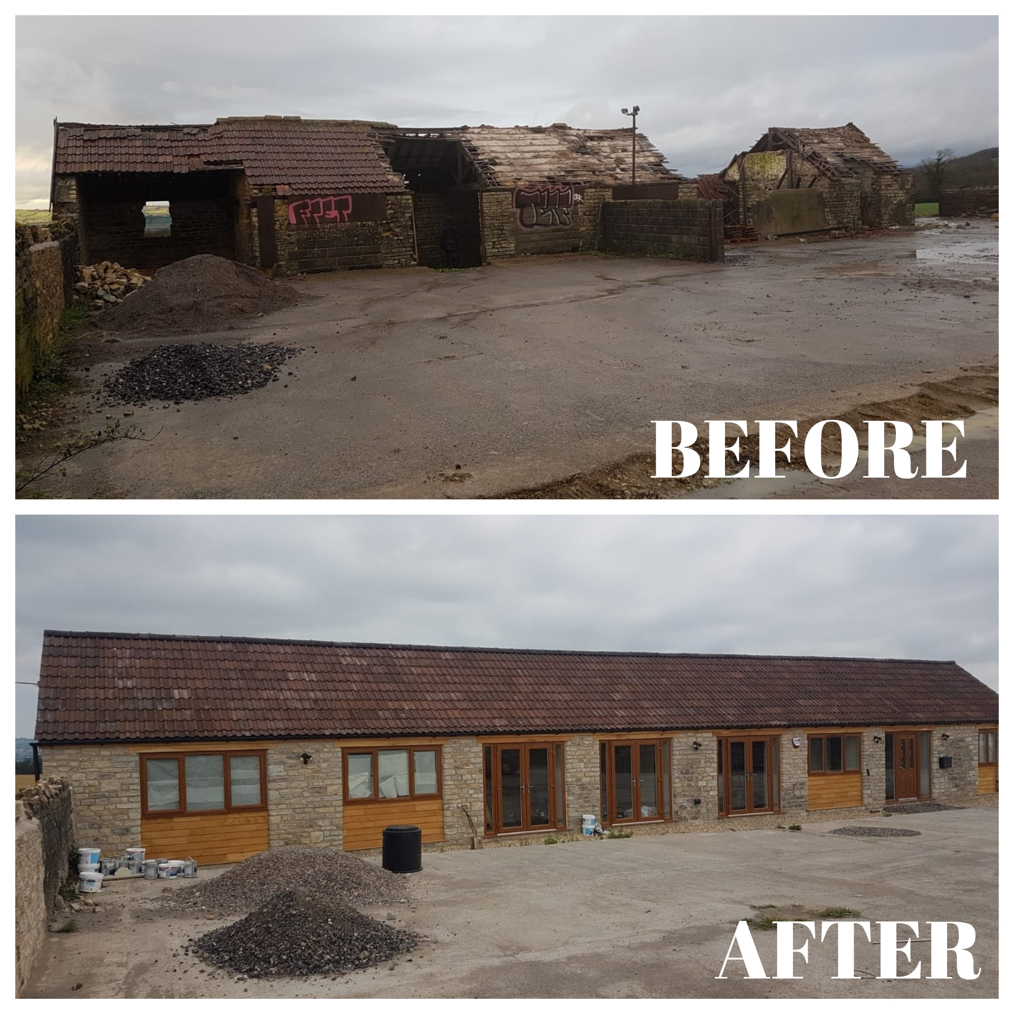 A recent renovation of a barn which involved a complete new roof